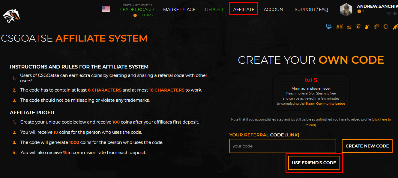 csgoatse affiliate code
