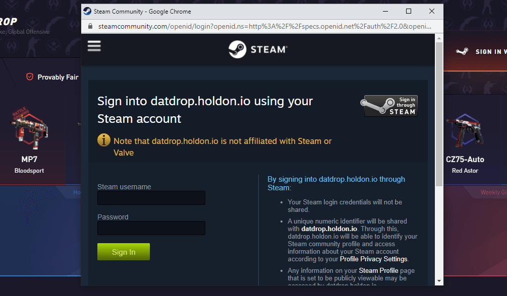 datdrop sign in